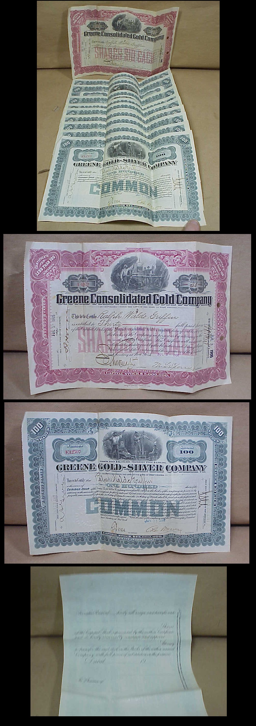 10 1907 gold mine stock certificates greene gold and silver alaska hawaii and puerto rico extra shipping charges will apply inquire for a shipping quote international buyers welcome inquire for a shipping quote 1betcityfo Gallery